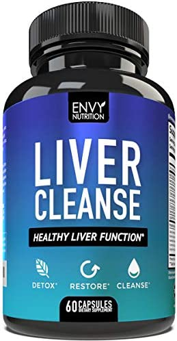 Envy Nutrition Liver Cleanse – Healthy Liver Function Detox Supplement – Milk Thistle, Silymarin, Beet, Artichoke, Dandelion, and Chicory for Enhanced Liver Support – 60 Capsules