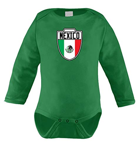 HAASE UNLIMITED Mexico Mexican - Soccer Infant Long Sleeve Bodysuit (Kelly Green, (Club America Long Sleeve Jersey)