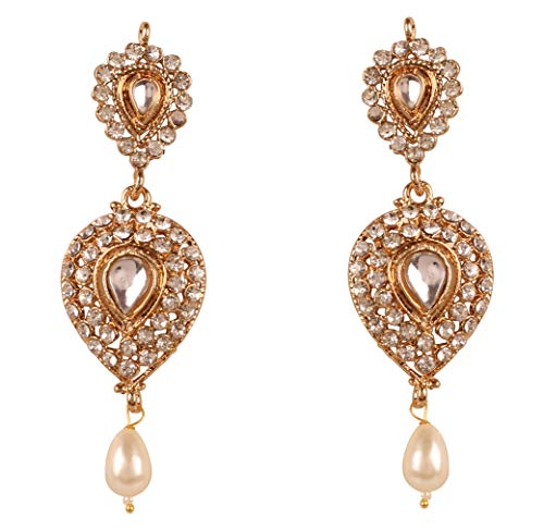 NEW! Touchstone Indian Bollywood Desire Contemporary Diamond Look Rhinestone Designer Jewelry Chandelier Earrings In Antique Gold Tone For Women (White) ()
