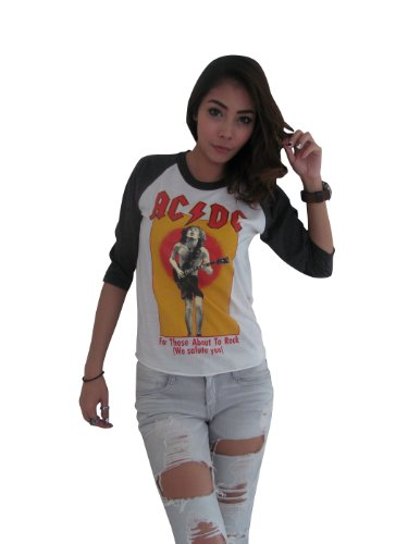 Bunny Brand Women's AC/DC For theose about to rock Music Rock Raglan T-Shirt,Small