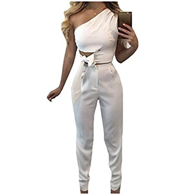 Cheap Zimaes-Women Inclined Shoulder 2-Piece Sleeveless Strappy Jumpsuits for cheap