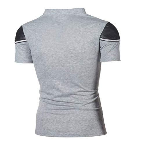 V Camisas Correas En De Tops Verano Elegante Cremallera Con Saoye Oscuro Corta Hombre Ropa Kaffee Cuello Camiseta Manga Cruzadas Fashion Gris SaqwHZ
