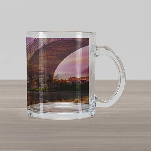 - Ambesonne Minnesota Glass Mug, Stained Abutments of Historical Stone Arch Bridge Crossing the Mississippi River, Printed Clear Glass Coffee Mug Cup for Beverages Water Tea Drinks, Multicolor