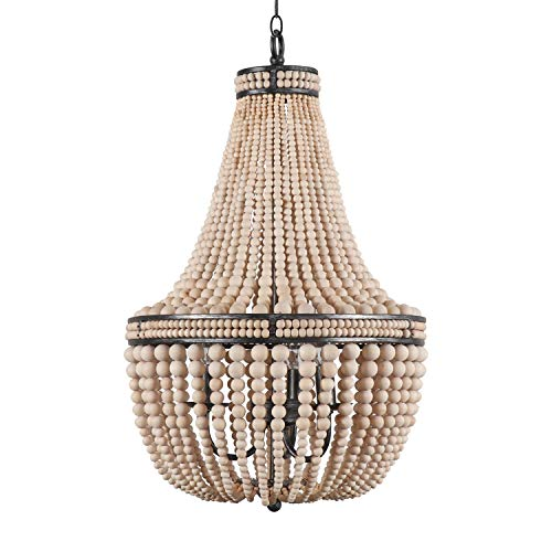 Farmhouse Wood Beaded Chandelier Ceiling Pendant 3-Light Fixture Wooden Bead and Metal Chandeliers Hanging Lighting Home Decor Lamp for Bedrooms, Kitchen,Bathroom, Living Room, Natural Color