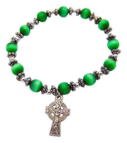 Westman Works Celtic Cross Irish Charm Bracelet Glass Beads with Metal Pendant Includes Gift Bag