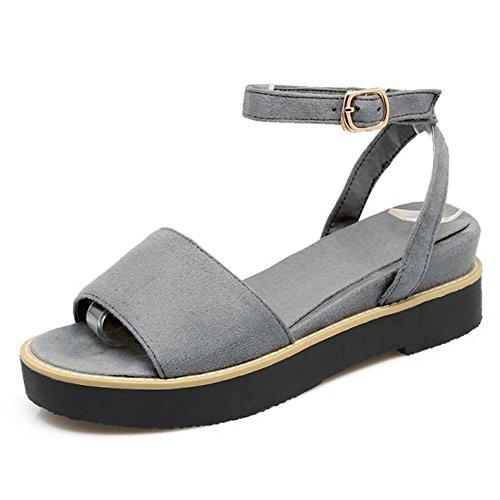 Aisun Donna Casual Confortevole Open Toe Abito Avvolgente Caviglia Vestito Con Cinturino Con Fibbia Sandali Bassi Con Plateau Grigio