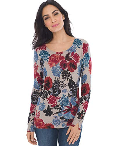 Red Bones Print - Chico's Women's Rose-Print Button-Sleeve Pullover Size 16/18 XL (3) Red