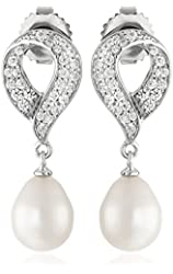 Sterling Silver 8-9mm White Oval Freshwater Cultured Pearl and Swarovski Zirconia Drop Earrings