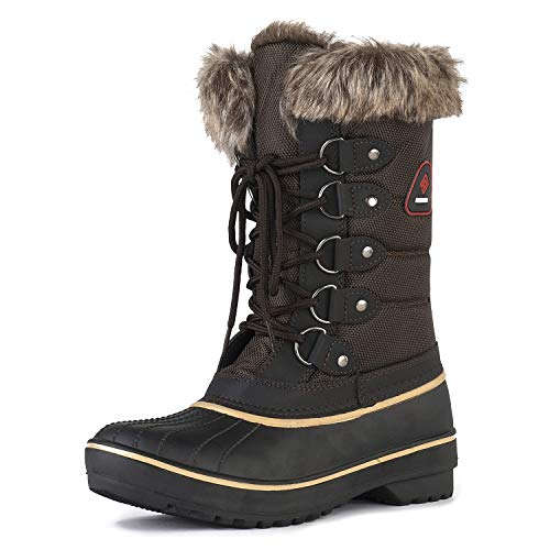DP-Canada Brown Faux Fur Lined Mid Calf Winter Snow Boots Size 7 M US ()