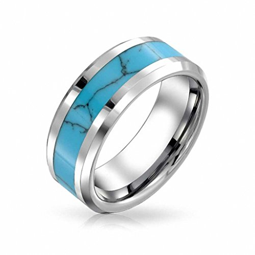 Blue Turquoise Inlay Ring - Gnex 8mm Mens/Womens Tungsten Turquoise Inlay Band Blue Ring Wedding Size 8