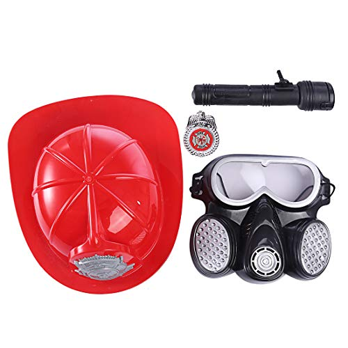 WOLFBUSH Fireman Gear Toy 4Pcs Firefighter Costume Role Play Toy Pretend Fireman Toy with Gas Mask and Other Acessories Best Gift for Boys]()