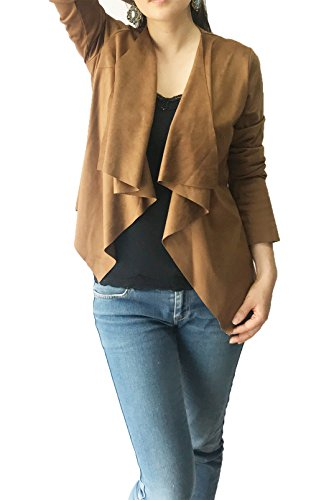 Women's Long Sleeve Cardigan, Faux Suede, Chic Look, Drape Front (S, Camel)