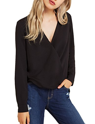 Long Sleeve V-neck Blouse - Dohia Women's Casual V Neck Chiffon Blouses Long Sleeves Loose Tops Wrap Front Surplice Shirt C2614(L, Black)