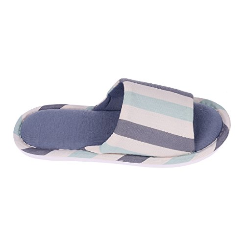 On Memory Foam Shoes Men Toe Slippers Indoor House Slip Slippers Home Women Light Blue Open Soft Cotton A07YB7n