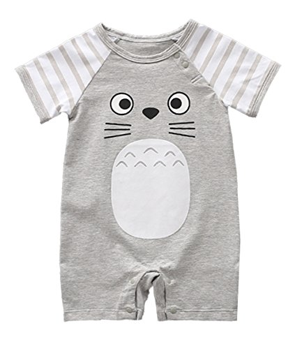 stylesilove Adorable Unisex Baby Totoro Short Sleeve Cotton Romper (59/3-6 Months, Grey)