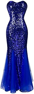 Angel-fashions Women's Sleeveless Blue Sequins Tulle Evening Dress