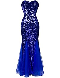 Women's Sleeveless Blue Sequins Tulle Evening Dress