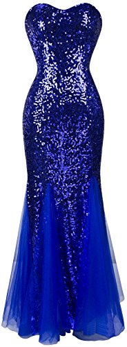 's Sleeveless Blue Sequins Tulle Evening Dress XXLarge ()