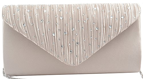 Bag Handy Shaped Pulama Hot Bag Evening Elegant Elegant Shoulder Pleat Fix Flap Lady Clutch Satin 7gqag8