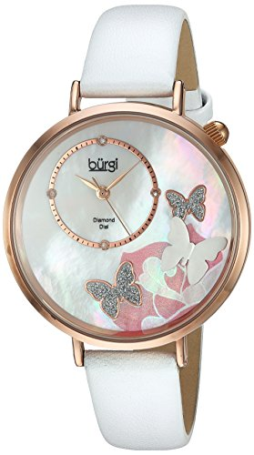 Burgi Women's Rose-Tone Case with Genuine Diamond Accented Butterfly Design Mother-of-Pearl Dial on White Leather Strap Watch (Ladies Diamond White Mop Dial)