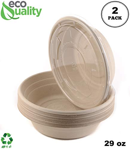 [2 Pack of 250] - EcoQuality 29oz Round Disposable Bowls with Flat Lids Natural Sugarcane Bagasse Bamboo Fibers Sturdy Compostable Eco Friendly Environmental Paper Plastic Bowl Alternative Tree Free