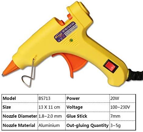 5本のスティックのり付き20W 220Vホットメルト接着ガンミニ修復ツールDIY専門ヒートガン (色 : Yellow, Plug Type : AU)