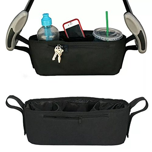 Yeapv Universal Fit Stroller Organizer Bag- Durable, Convenient, Strong with Premium Two Deep Cup Holders and Extra-Large Storage Space-Black (Free Stroller Hook)