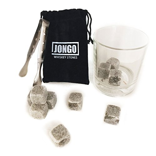 Whiskey Stones Gift Set by JONGO | Ice Rocks for Chilling Whisky, Wine, Scotch or any Drink Without Diluting like Magic - 10 Whisky Stones, Freezer Bag & Stainless Steel Tongs - Chills 8 - 9°F