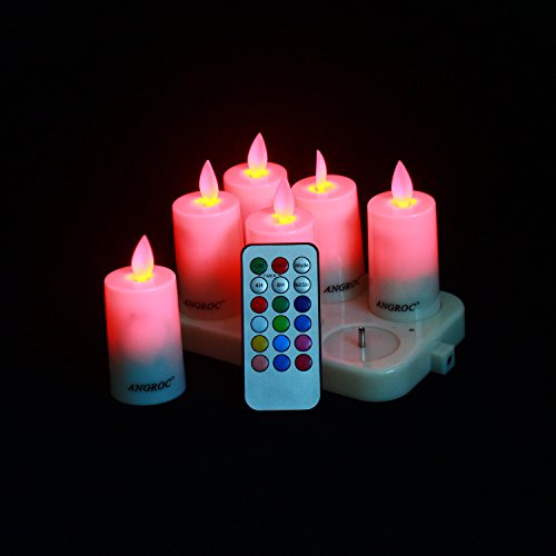 ANGROC Rechargeable Remote Control Flameless LED Tea Light Candle,Vivid Swing Flame Wick,Multi Color Available,Plus Timer,Dimmer,Steady and Flash Function( Set of 6 ) by ANGROC