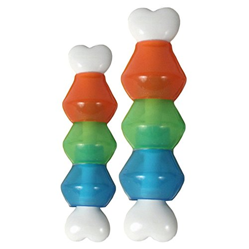 JW Pet Company 46125 EverTuff Treat Pod Nylon Toys for Pets, Large, White Bone with Colored Pods of Orange, Green, Blue