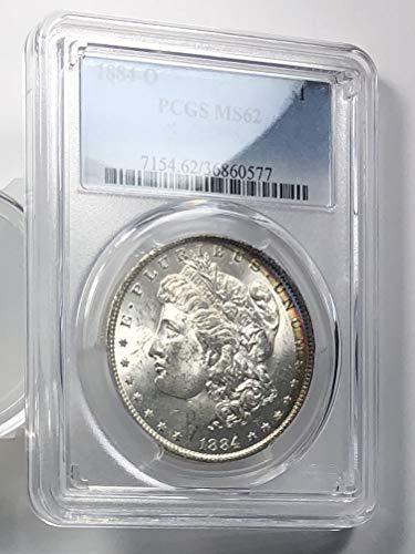 1884 O Morgan Silver Dollar Rainbow Rim $1 MS-62 PCGS