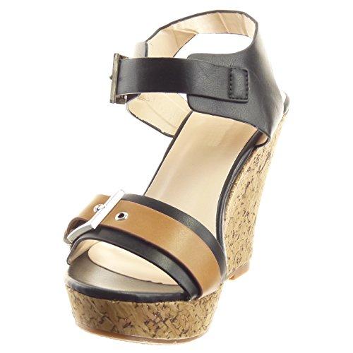 Sopily - Zapatillas de Moda Sandalias Abierto Zapatillas de plataforma Caña baja mujer Corcho Hebilla Talón Plataforma 11 CM - Negro