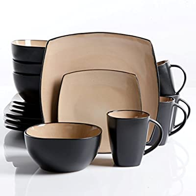 "Gibson Soho Lounge Dinnerware set, Square, Taupe - BEAUTIFUL DESIGN: artisanal stoneware featuring two-tone taupe interior and black exterior double reactive glaze. WHATS IN THE BOX: Service for 4 that includes 4 of each of the following: 12. 75"" Dinner Plates, 9"" Dessert Plates, 6. 25"" Cereal Bowls and 12 Ounce Mugs. DOUBLE REACTIVE GLAZE: reactive refers to a technique how multiple colors within the glaze react together to create a dreamlike, vibrant quality to the colors and hues. Due to the reactive nature of the glaze, each stoneware piece is unique. - kitchen-tabletop, kitchen-dining-room, dinnerware-sets - 41mlJgNa7jL. SS400  -"