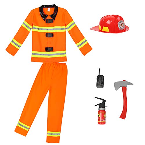 frawirshau Firemen Costumes for Kids Halloween Firefighter Role Play Costume with Plastic Fireman Hat -