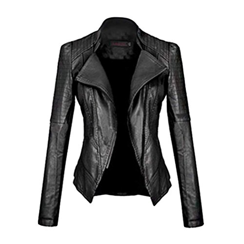 Girl Motorcycle Jackets (Eshion Women's Sexy Cool Girl Synthetic Leather Jacket Motorcycle Coat)