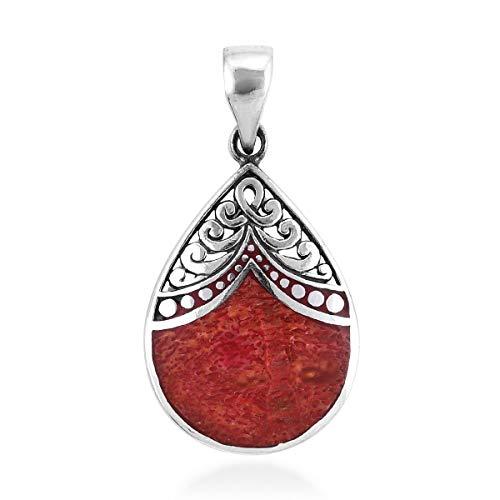 Boho Handmade Pendant 925 Sterling Silver Sponge Coral Jewelry for Women