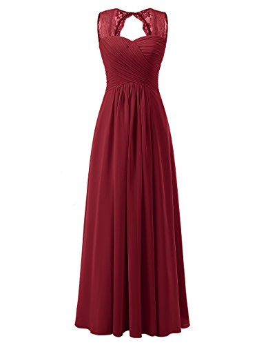 Tideclothes ALAGIRLS Women's Lace Straps Chiffon Bridesmaid Dresses Long Wedding Party Gowns Burgundy (Bra Cup Pleat Dress)