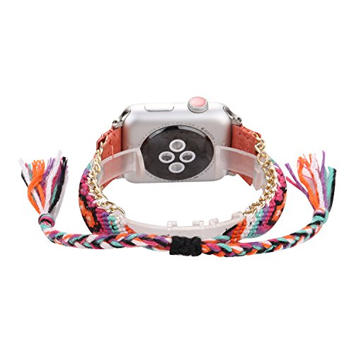 Bohemian Style Manual Braided Multi-Color Knitting Wool Jointed Leather Bracelet Replacement Compatible with Apple Watch Series 4 44mm and Series 3/2/1 42mm - Orange (Compatible Pack Color Multi)