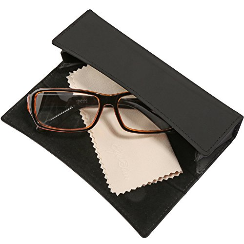 EyeSun Glasses Case Folding Leather Eyeglasses Case with Free Cleaning Cloth for Myopia Glasses or Presbyopia Glasses(black,101-2Small)