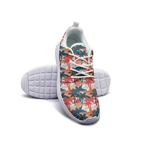 (Black Palm Tree Shadow white Plimsolls for Men sports Lightweight Walking Shoes )