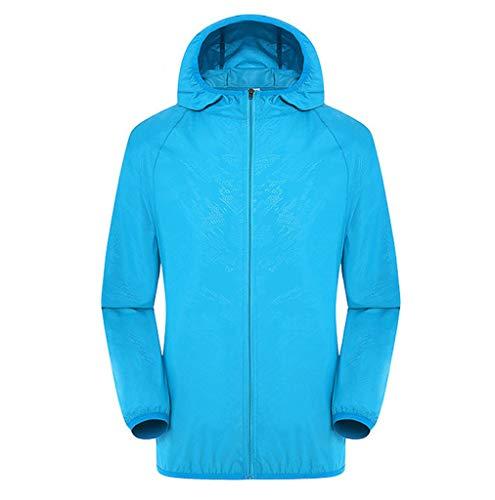 FIRERO Men's Women Windproof Ultra-Light Rainproof Windbreaker Casual Jackets Top Sky Blue