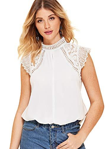 SheIn Women's Elegant Cap Sleeve Keyhole Contrast Lace Blouses Tops White XL