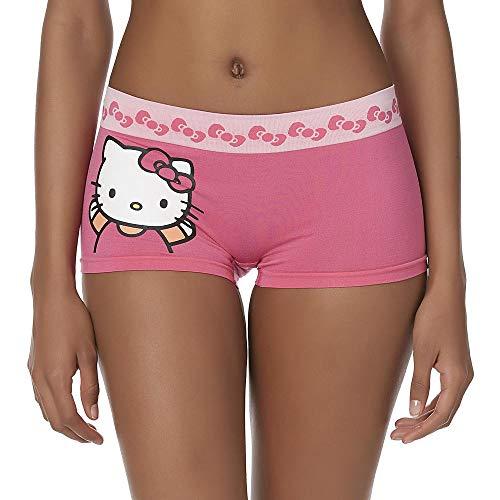 Women's Seamless Boyshort Panties- Classic Cartoon Characters, Hello Kitty-Pink, Size L