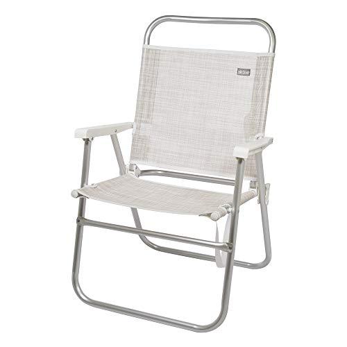 AKTIVE 53974 Silla Plegable Fija Aluminio Beach, 51 x 56 x 90 cm, Blanco