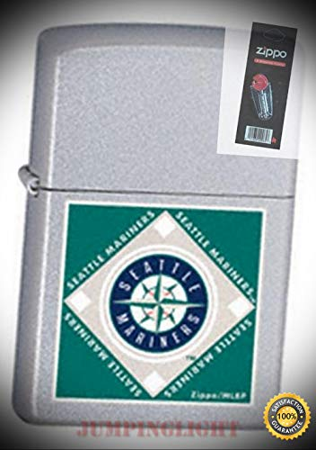 22686 MLB Seattle Mariners Lighter with Flint Pack - Premium Lighter Fluid (Comes Unfilled) - Made in USA!