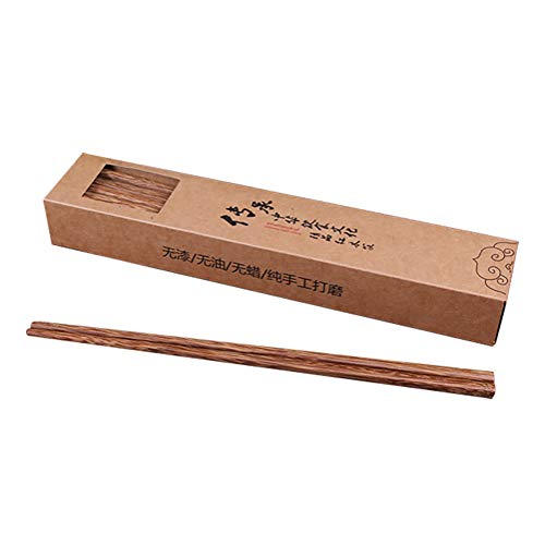 Udyr Luxury Reusable Natural Wenge Wood Chopsticks Multicultural Ancient Asian Wisdom Non-slip Classic Chinese Style 10 Pairs with Gift Box (Wenge wood 02)