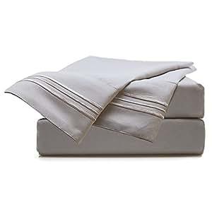Sable Premium SA-BD001 Bed Sheet Set, Queen Size,4 Piece, Gray