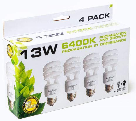 SunBlaster 13 Watt CFL Grow Lamp 4 Pack (Best Fluorescent Lights For Growing Plants)