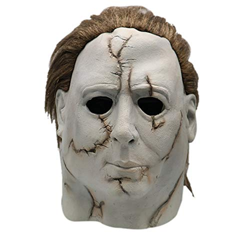 Rucan Halloween Cosplay Michael Myers Melting Face Overhead Latex Costume Prop Scary Mask Toy (B)]()