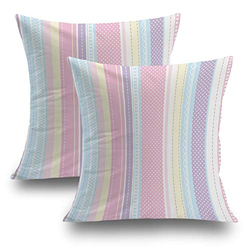 Shrahala Cute Pillow Covers, Decorative Pillowcases Pink Stripe Glitter Dots Baby Shower Invitation Cushion Case for Sofa Bedroom Car Throw Pillow Covers Cushion Square 18 x 18 Inches Pink, Set of 2 (Shower Pink Paisley Invitations Baby)
